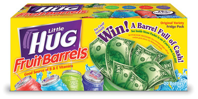 Little Hug Barrel Full of Cash promotional package, available in stores nationwide