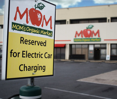Free electric car charging is available at MOM's