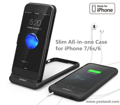 Slim iStand 7 Battery Case Combines with Dock and 3.5mm Headphone Jack. All in all, iStand7 is a portable dock, MFi charger, 3.5mm headphone adapter, wireless charger & a handy stand.