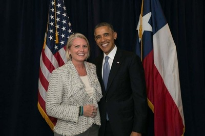 Amy Witherite at the Democratic Senatorial Campaign Committee reception with President Barack Obama.  (PRNewsFoto/Eberstein & Witherite)