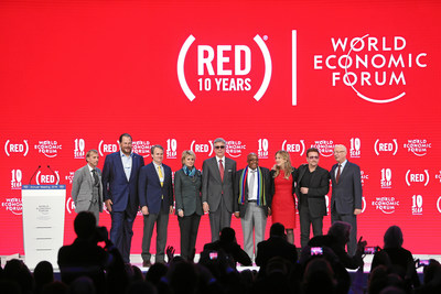 Marking 10 years of (RED) at the 2016 World Economic Forum: Mark Dybul, Executive Director, The Global Fund to Fight AIDS, Tuberculosis and Malaria, Marc Benioff, CEO, Salesforce, Brian Moynihan, Chairman and CEO, Bank of America, Anne Finucane, Vice Chair, Bank of America, Bill McDermott, CEO, SAP, Dr. Aaron Motsoaledi, Minister of Health, South Africa, Deborah Dugan, CEO, (RED), Bono, Klaus Schwab, Founder and Executive Chairman, World Economic Forum