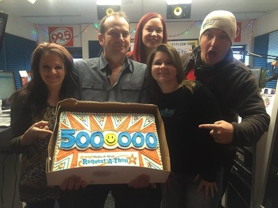 WZPL's Smiley Morning Show team celebrates $5 million raised for Make-A-Wish in Indiana since Dave Smiley began fundraising for the organization. The milestone was achieved during the 19th Annual Request-A-Thon, held Dec. 3-4, 2015. This year alone, the Smiley Morning Show raised more than $620,000 while accepting donations for songs to help grant the wishes of Hoosier kids battling life-threatening medical conditions.