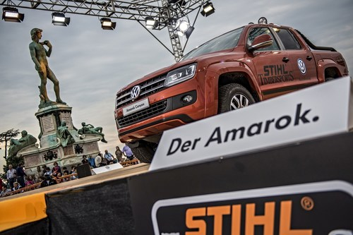 The STIHL TIMBERSPORTS(R) Series and Volkswagen Commercial Vehicles are cooperating in the elite division of lumberjack sports. During the 2015 Champions Trophy in Florence, Italy, Volkswagen Commercial Vehicles appeared for the first time at an international competition. (PRNewsFoto/STIHL TIMBERSPORTS Series) (PRNewsFoto/STIHL TIMBERSPORTS Series)
