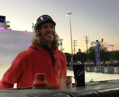 Pro Snowboarder Eric Willet smiles after mixing the world's first-ever Big Air Mule by Stoli Vodka at Shaun White's Air + Style Festival in Los Angeles, February 2016.
