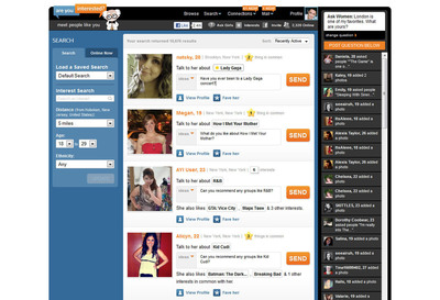 AreYouInterested.com Sample Member Search Page.  (PRNewsFoto/SNAP Interactive, Inc.)