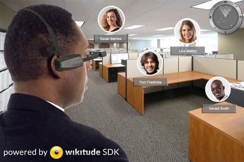 Simulated image of what user sees wearing Vuzix M100 running Wikitude Software.  (PRNewsFoto/Vuzix Corporation)
