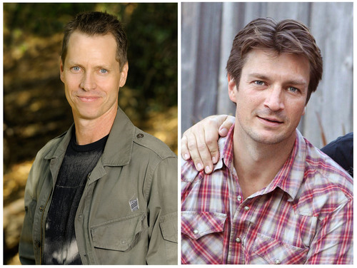 Frank Beddor on the Left, Nathon Fillion on the right.  (PRNewsFoto/Kids Need to Read)