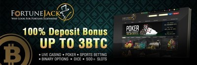 FortuneJack Bitcoin Casino offers generous weekly promotions and rewards with a 100% deposit bonus, up to 3 BTC. (PRNewsFoto/FortuneJack Casino) (PRNewsFoto/FortuneJack Casino)