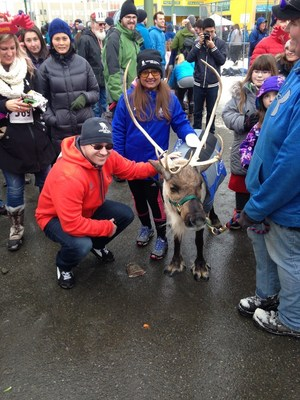 Aaron Velvick and his wife ran with reindeer through the streets of downtown Anchorage, Alaska.