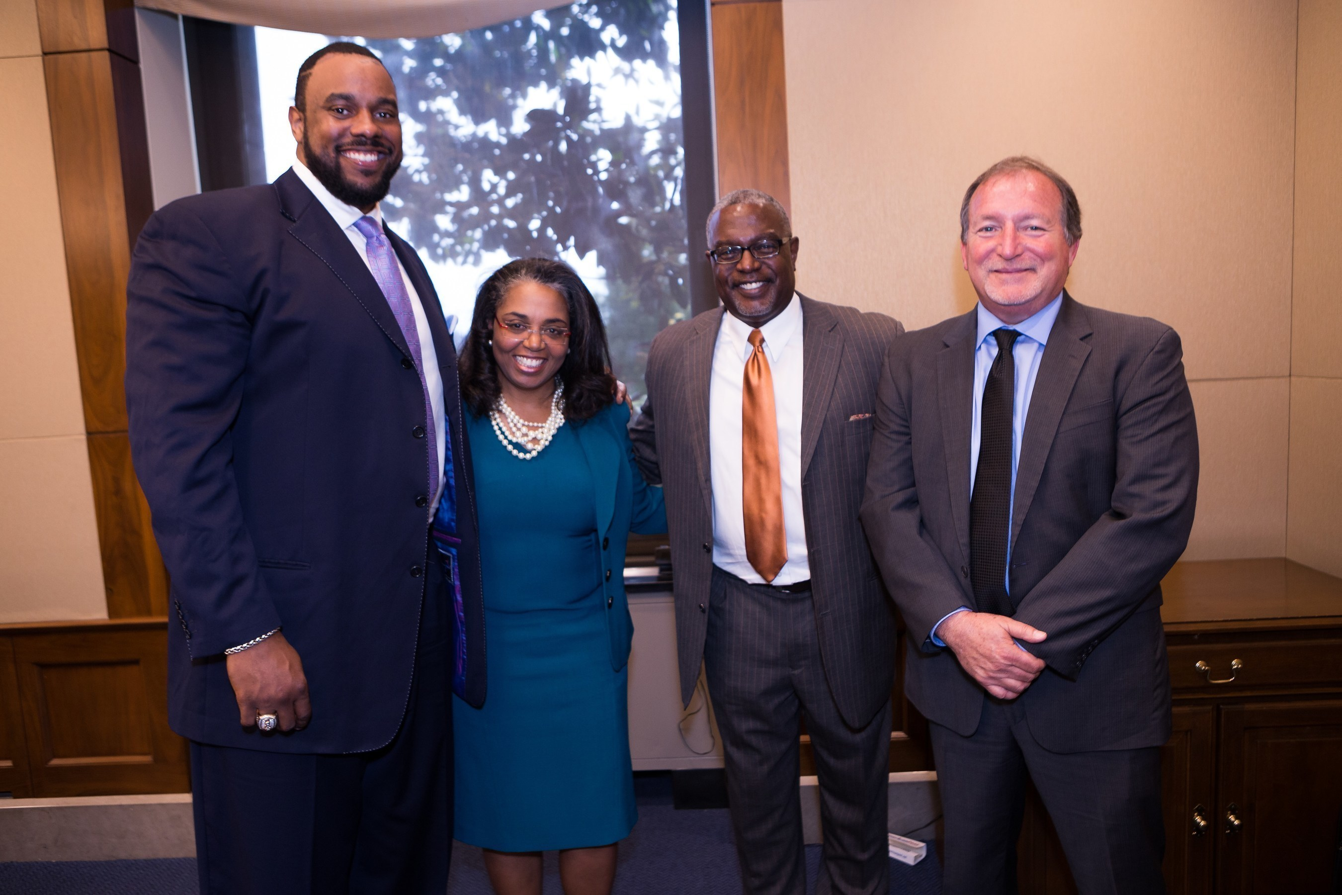 L to R: Jonathan Scott, Dr. Amy McMichael, Dr. Paul Wallace, and Randy Beranek, President and CEO, National Psoriasis Foundation at the Skin of Color Congressional Briefing
