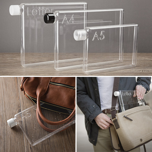 Memobottle A4, A5 and Letter shaped reusable water bottles conveniently slide into your carry bag alongside computers, books and valuables. (PRNewsFoto/The Memobottle)