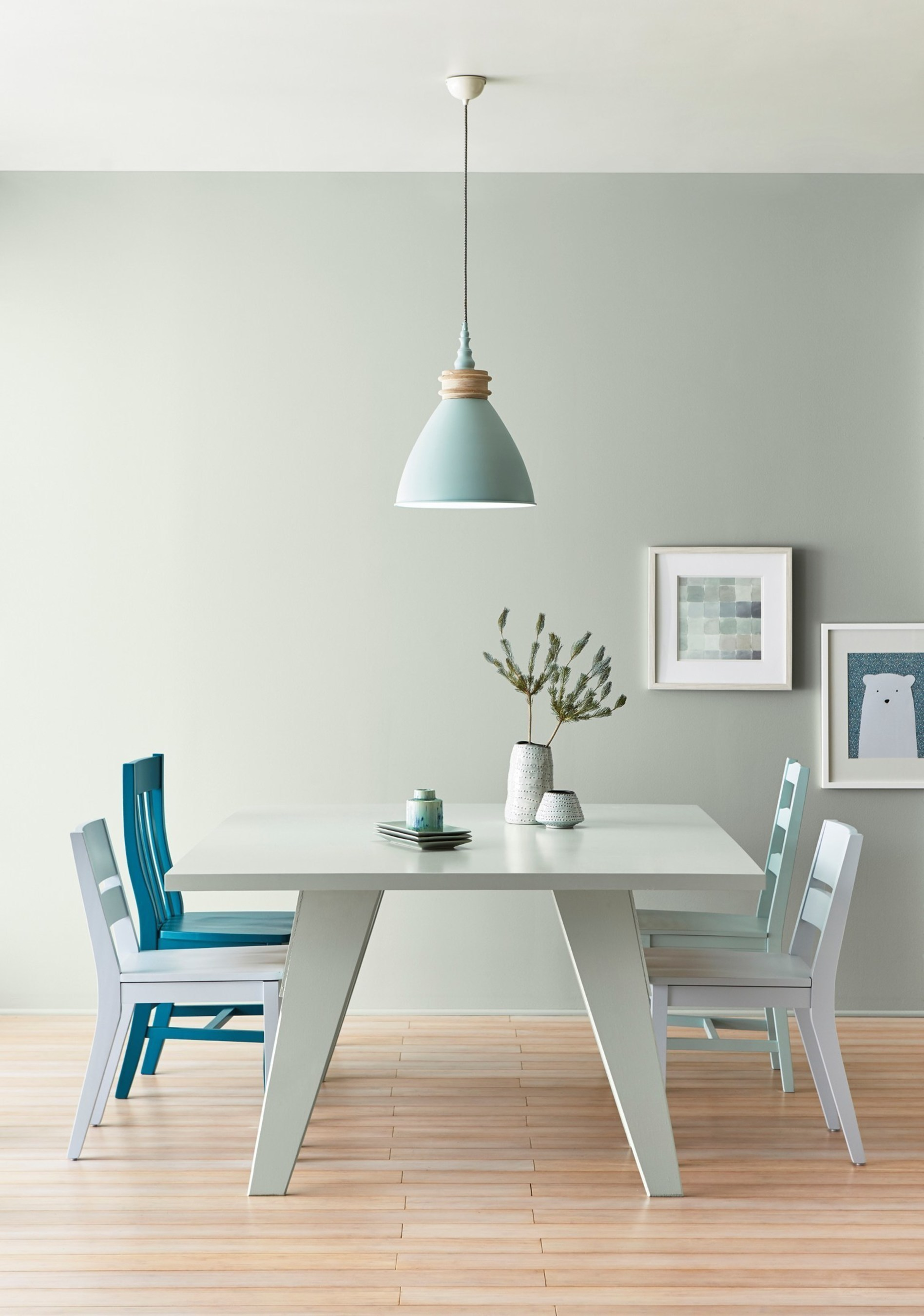 """Lowe's: 5002-1B Smoke Infusion/ Ace: VR110C Rock Solid/ Independent Retailers: V140-3 Rock Solid/  Soft silver sage enjoys resurgence as the movement to de-clutter and pare down is in play. The hue is versatile, reliable and reimagined for living simply, yet satisfied. """"Sage green and silvery gray blend together in one of the most versatile and beautiful neutrals - perfect for today's popular warm wood floors,"""" said Kim."""