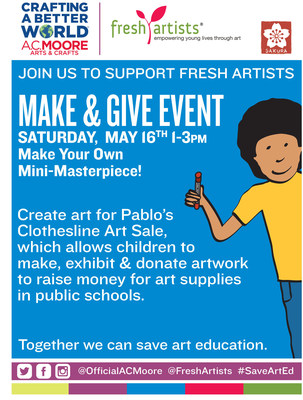 "A.C. Moore, leading arts & crafts retailer, has joined forces with Fresh Artists to host its first-ever ""Fresh Artists Clothesline Artsale."" On May 16, students are invited to their local A.C. Moore for a ""Make & Give"" event, where they'll create artwork to be displayed and donated to the clothesline art sale. May 16-24, customers will have the opportunity to donate $1 at checkout towards Fresh Artists and select a piece of artwork from the clothesline. A.C. Moore will match customer donations..."