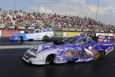 In seventh all-Mopar final round of season, Jack Beckman, near lane, won NHRA Midwest Nationals over fellow Dodge Charger Funny Car driver Tommy Johnson Jr.