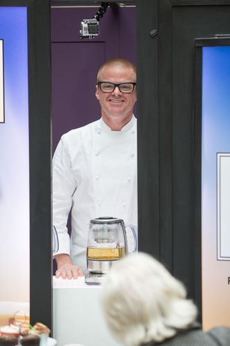 The doors of the machine closing on Heston as he disappears from the view of the crowd after being treated to a free cup of tea (PRNewsFoto/Sage Appliances)