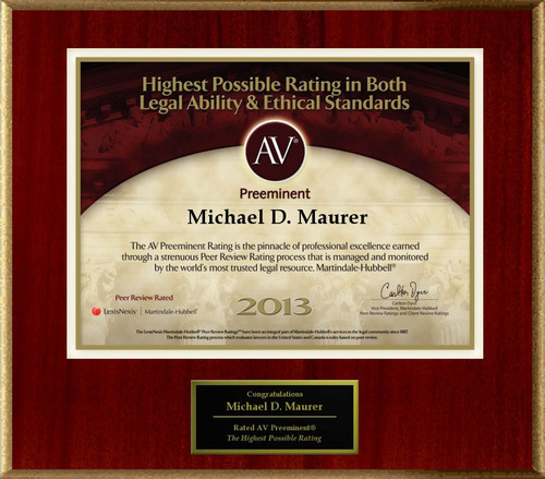 Attorney Michael D. Maurer has Achieved the AV Preeminent(R) Rating - the Highest Possible Rating from Martindale-Hubbell(R).  (PRNewsFoto/American Registry)