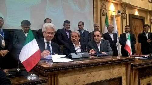 Stefano Pileri, CEO Italtel, Mr. Dehnad, CEO TCI, and Mr. Hashemi, Chairman of Board of Directors of TCI sign the MoU in Teheran (PRNewsFoto/Italtel)