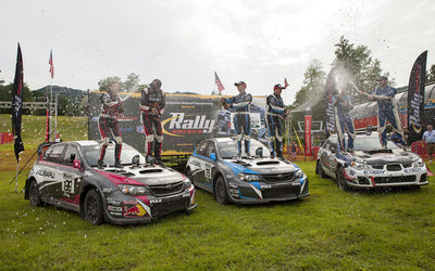 Subaru Rally Team USA sealed their 2014 Rally America Championship title with a 1-2 finish at New England Forest Rally. Adam Yeoman of FY Racing took third for an all-Subaru podium. (PRNewsFoto/Subaru of America, Inc.)