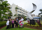 The Wallack family stands in front of the dedication monument that is now on display at Mount Sinai Medical Center in Miami Beach, Florida.  (PRNewsFoto/Mount Sinai Medical Center)