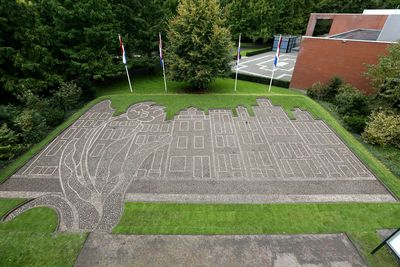 Keukenhof kicks off Holland's theme year of Amsterdam's canals planted in bulbs. Bulb mosaic of the Amsterdam canals.