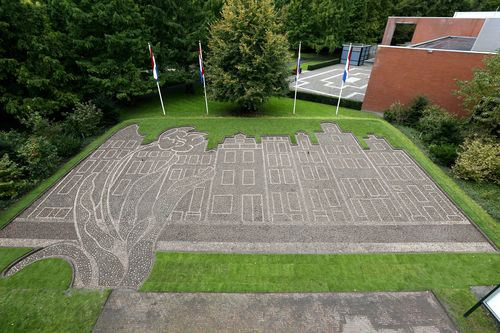Keukenhof kicks off Holland's theme year of Amsterdam's canals planted in bulbs. Bulb mosaic of the ...