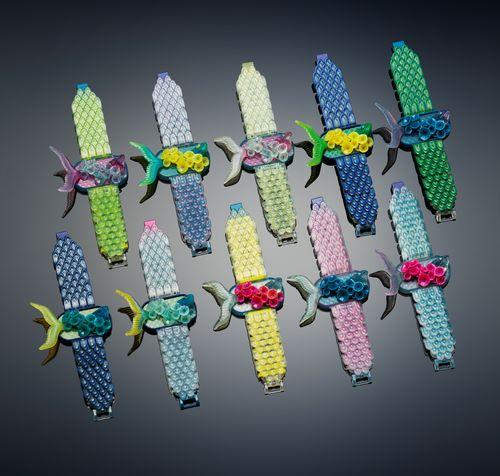 Michaella Janse van Vuuren designed Fish in Lillies Bracelet exploits the multi-material and color properties ...
