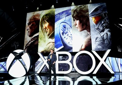 Phil Spencer, Head of Xbox, introduces the greatest games lineup in Xbox history at the Xbox E3 2015 Briefing on Monday, June 15, 2015 in Los Angeles. (Photo by Casey Rodgers or Matt Sayles/Invision for Microsoft/AP Images)