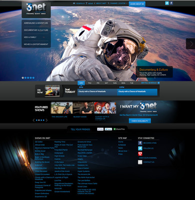 3net, the joint venture 24/7 3D network from Sony, Discovery and IMAX, launches 3net.com, the online experience of the 3net television brand.  (PRNewsFoto/3net)