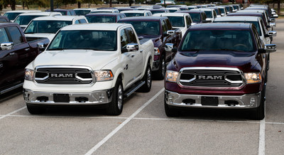 Ram hosts giant 400-truck dealer drive-away event in Dallas to celebrate Ram Laramie Longhorn's Texas Auto Writers Association Luxury Pickup Truck of Texas award.