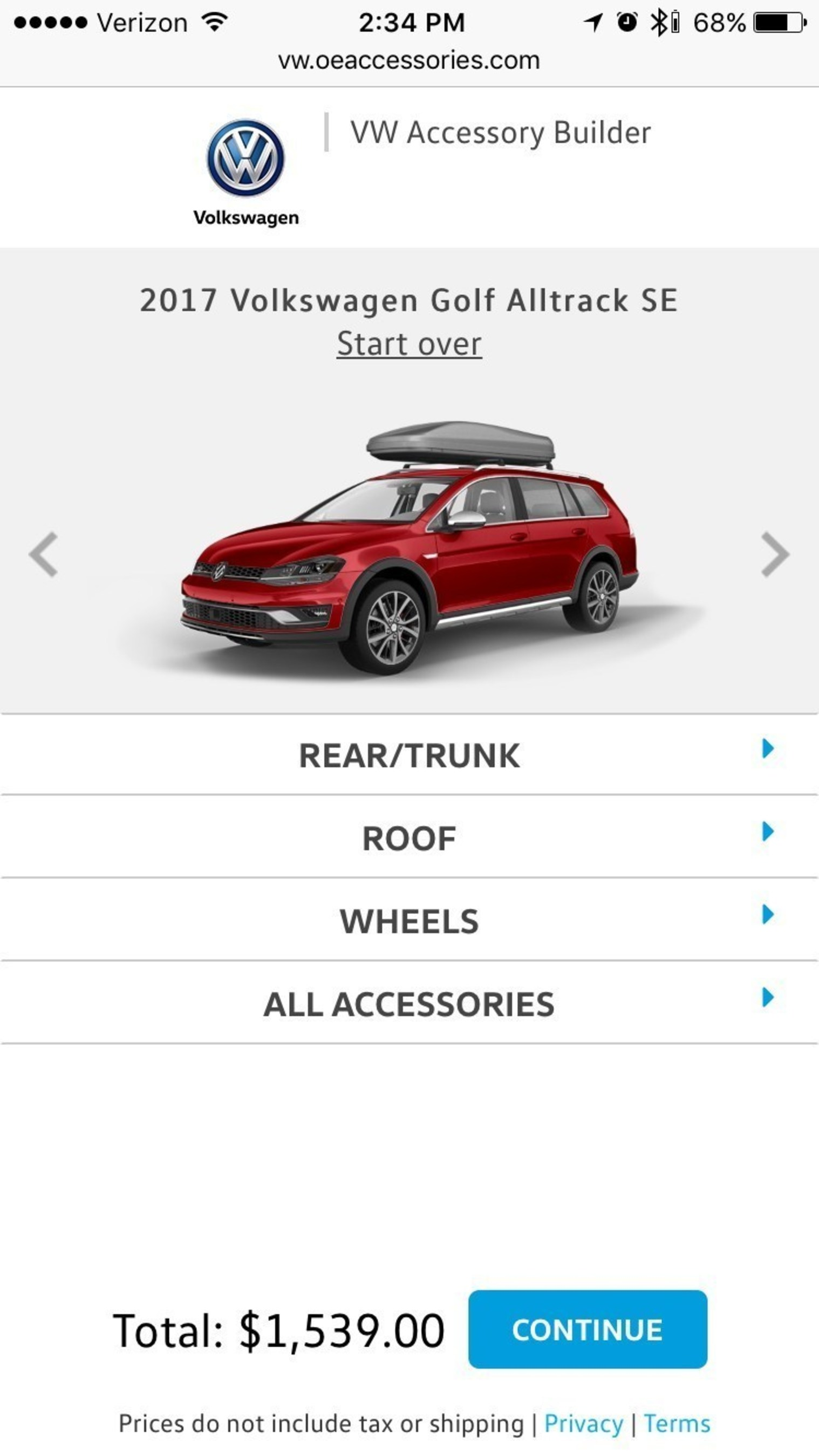 The VWaccessoriesbuilder.com system will be provided to all Volkswagen dealers and feature specific pricing and installation information. It is mobile-responsive.