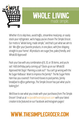 Read a bit more about The Simple Grocer!  Your online source for Whole30 approved, Paleo friendly Meats!
