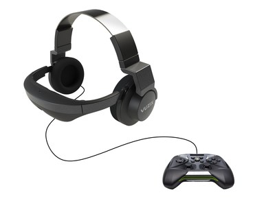 The Vuzix V-720 Mobile Gaming Platform is a high-end pair of video headphones coupled with the latest NVIDIA? based mobile processor gaming engine and controller, providing consumers with a wearable gaming solution that is simply second to none.