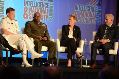 From left, Adm. Michael Rogers, USN, U.S. Cyber Command director; Lt. Gen. Vincent Stewart, USMC, Defense Intelligence Agency director; Betty Sapp, National Reconnaissance Office director; and Robert Cardillo, National Geospatial-Intelligence Agency director share their perspectives on U.S. national, defense and homeland security issues at the third annual Intelligence and National Security Summit. DoD photo by Amaani Lyle