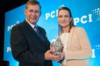 Patricia Templeton-Jones, COO of Wright Flood accepts PCIAA's 2014 Political Involvement Award. (PRNewsFoto/Wright Flood)