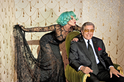 "Lady Gaga and Tony Bennett at their recording session of ""Lady Is A Tramp"" to be included on Bennett's chart-topping DUETS II CD, photographed by Tony Bennett's granddaughter, Kelsey Bennett. (PRNewsFoto/RPM Records/Columbia Records)"