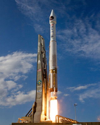 A United Launch Alliance Atlas V rocket blasts off from Space Launch Complex-41 carrying the second Space-Based Infrared System (SBIRS) GEO-2 satellite for the U.S. Air Force at 5:21 p.m. EDT. This was the 3rd ULA launch of the year, the 37th Atlas V mission, and the 69th ULA launch since the company was formed in December 2006. SBIRS is a consolidated system intended to meet United States infrared space surveillance needs for decades to come. The SBIRS program addresses critical warfighter needs in the areas of missile warning, missile defense, technical intelligence and battlespace characterization.  (PRNewsFoto/United Launch Alliance)