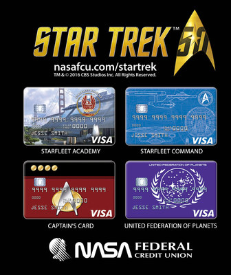 NASA Federal's official Star Trek credit card line includes Starfleet Academy, Starfleet Command, the Captain's Card and United Federal of Planets
