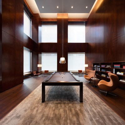 Residents' billiards room and library at 432 Park Avenue (DBOX for CIM Group/Macklowe Properties)