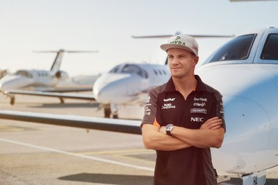 GlobeAir, the leading European private jet company, announces Nico Hulkenberg as its first brand ambassador. (PRNewsFoto/GlobeAir AG) (PRNewsFoto/GlobeAir AG)