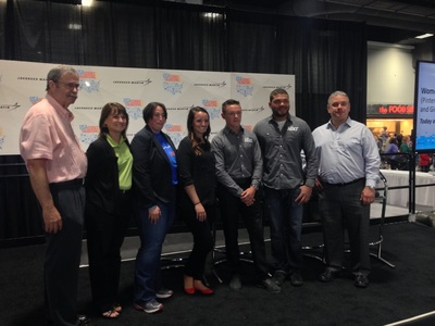 NASCAR Next drivers help Lockheed Martin and ACORE announce the Finish First Fellowship Program.  From left to right: ACORE's Michael Brower, Lockheed Martin's Cathy Snyder and Barri Gurau, NASCAR Next drivers Kenzi Ruston, Gray Gaulding and Ryan Gifford, and NASCAR Green's Dr. Michael Lynch.