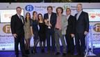 Scelta Mushrooms receive 'Most Innovative Ingredient' award at the 2015 Fi Innovation Awards. Pictured L-R are: Richard Joyce, Fi Europe's Brand Director, from Scelta Mushrooms Floor Kessels, Liz Keunen, Sophie Tullemans, Jan Klerken Jr., Jan Derk ter Keurst and Nicolas Ganot, and Peter Wennstrom of Healthy Marketing Team and Award Judging Panel Chairman. (PRNewsFoto/UBM EMEA)