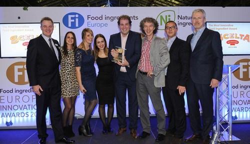 Scelta Mushrooms receive 'Most Innovative Ingredient' award at the 2015 Fi Innovation Awards. Pictured L-R are: Richard Joyce, Fi Europe's Brand Director, from Scelta Mushrooms Floor Kessels, Liz Keunen, Sophie Tullemans, Jan Klerken Jr., Jan Derk ter Keurst and Nicolas Ganot, and Peter Wennstrom of Healthy Marketing Team and Award Judging Panel Chairman. (PRNewsFoto/UBM EMEA) (PRNewsFoto/UBM EMEA)