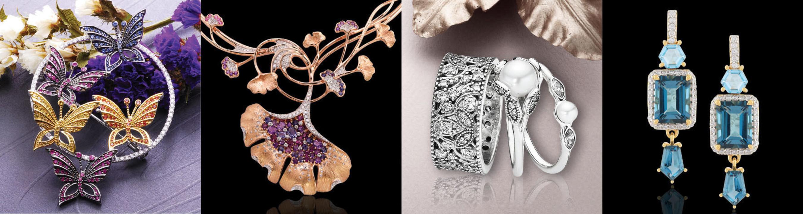 Jewellery pieces by (from left) China Stone Ltd, MKS Jewelry International Co Ltd, PANDORA Production Co Ltd, Pranda Group