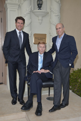 Tom Cruise, a longtime supporter of the Motion Picture & Television Fund (MPTF), joins Chairman of the MPTF Foundation,  Jeffrey Katzenberg, and Executive Chairman of Viacom and CBS, Mr. Sumner Redstone as he grants a $20 Million gift from the Sumner M. Redstone Charitable Foundation to the MPTF Campaign at Paramount Pictures. Pictured Left to Right: Tom Cruise (left), Mr. Sumner Redstone (center), Jeffrey Katzenberg (right).  (PRNewsFoto/MPTF)