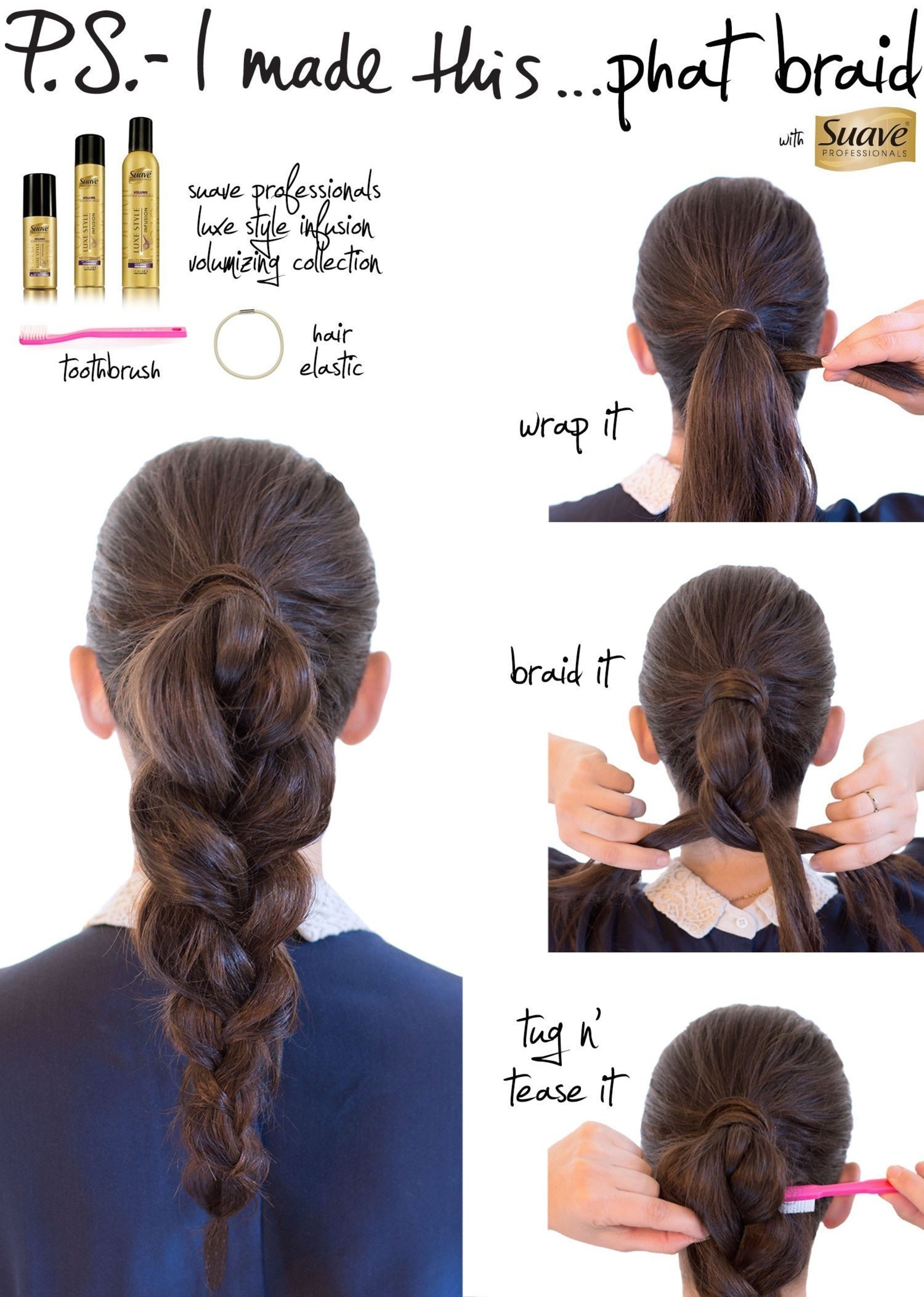 Erica Domesek, founder of P.S. - I made this... shows women how to create a braided look with the help of Suave Professionals.