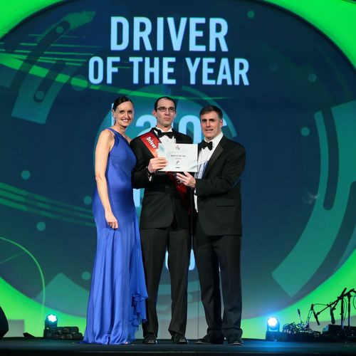 Lajos Nagy winning the Driver of the Year award