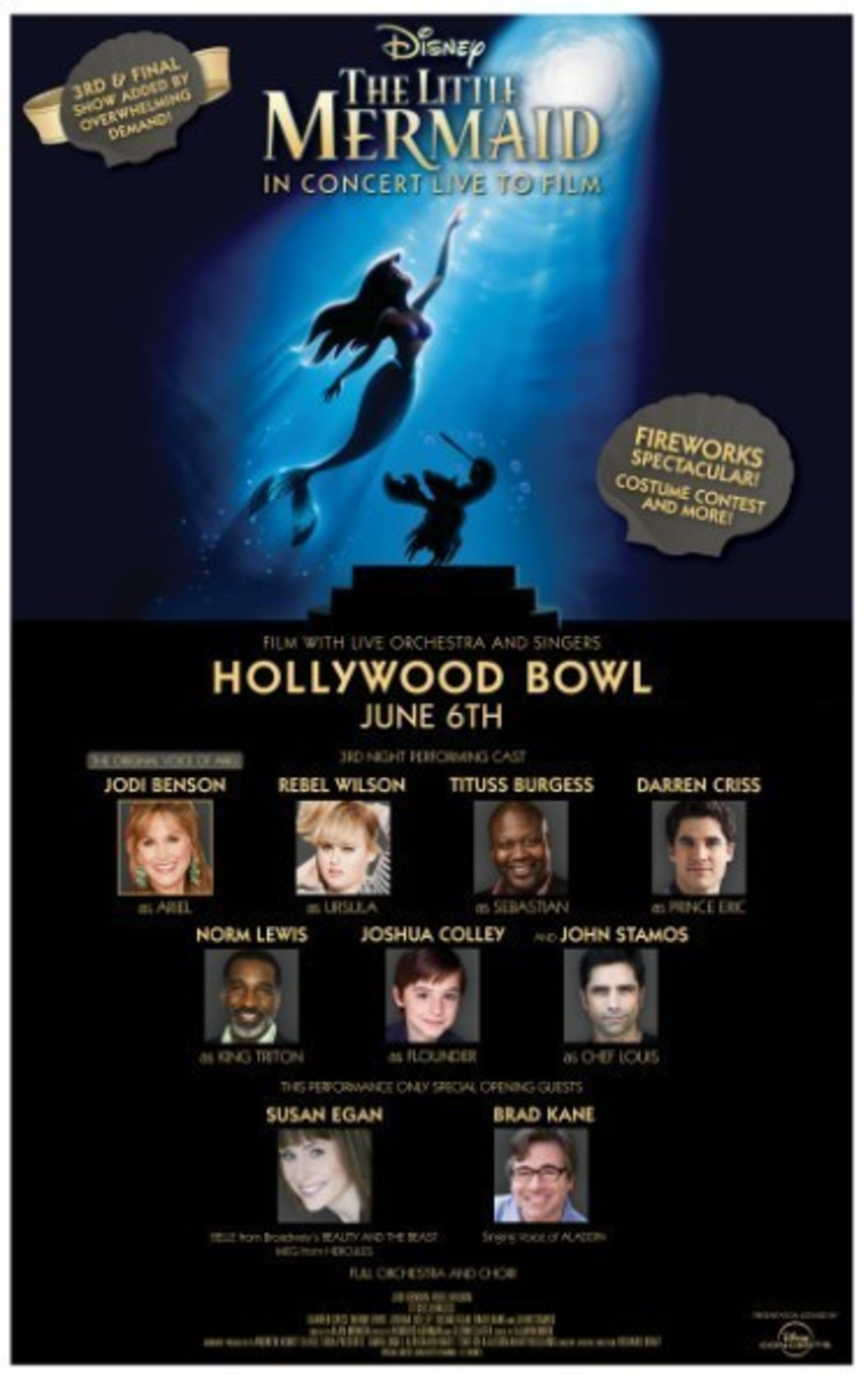 'DISNEY'S THE LITTLE MERMAID LIVE IN CONCERT' PERFORMED WITH ORCHESTRA LIVE TO FILM, MONDAY, JUNE 6