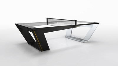"11 Ravens ""Avettore"" game table available in black leather and lucite"