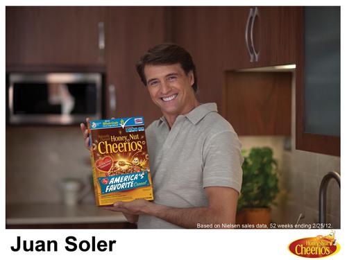 "Hispanic novela star Juan Soler, celebrity spokesperson for the Honey Nut Cheerios ""Cuidate, Corazon"" ..."