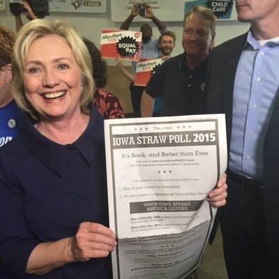 Hillary excited about Iowa's Online Straw Poll